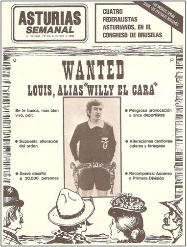 """En mayo de 1975, este medio asturiano convertía en desalmado del """"Far-West"""" al colegiado de Guipúzcoa Olasagasti, tras una mala tarde en Oviedo, acusándolo de acometer """"peligrosas provocaciones a 11 deportistas"""", """"supuesta alteración del orden"""", """"alteraciones cardiovasculares y faríngeas"""", y perpetrar un """"grave desafío a 30.000 personas"""". Con mucha socarronería, se ofrecía como recompensa el """"ascenso a Primera División""""."""