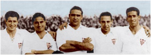 "Delantera ""Stuka"": López, Torróntegui, Campanal, Raimundo, Berrocal."