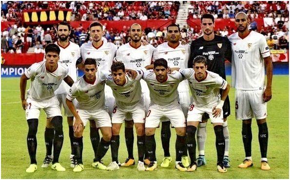 Formación 2017-18. Arriba: Nico Pareja, Lenglet, Pizarro, Mercado, Sergio Rico, N'Zonzi. Abajo: Correa, Ben Yedder, Jesús Navas, Banega, Sergio Escudero.