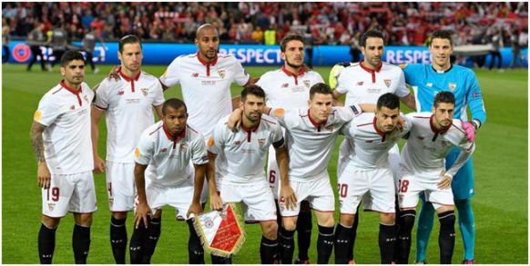 Europa League 2015-16: Arriba: Banega, Krychowiak, N'Zonzi, Carriço, Rami,  David Soria. Abajo: Mariano, Coke, Gameiro, Vitolo, Sergio Escudero.