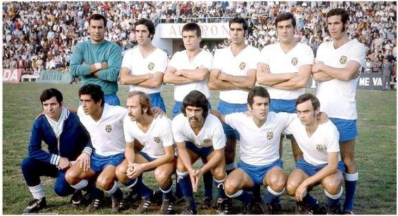Formación 1971-72.Arriba: Del Castillo, Óscar, Pepito, Lesmes, Molina, Cabrera. Agachados: Juanito, Ávila, Jorge, Mauro, Felipe.