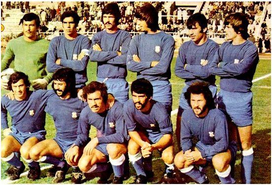 Formación 1973-74. Arriba: Domingo, Lesmes, Eduardo, Roberto, Esteban, Pepito. Agachados: Ferreira, Medina, Kraus, Jorge, Caamaño.