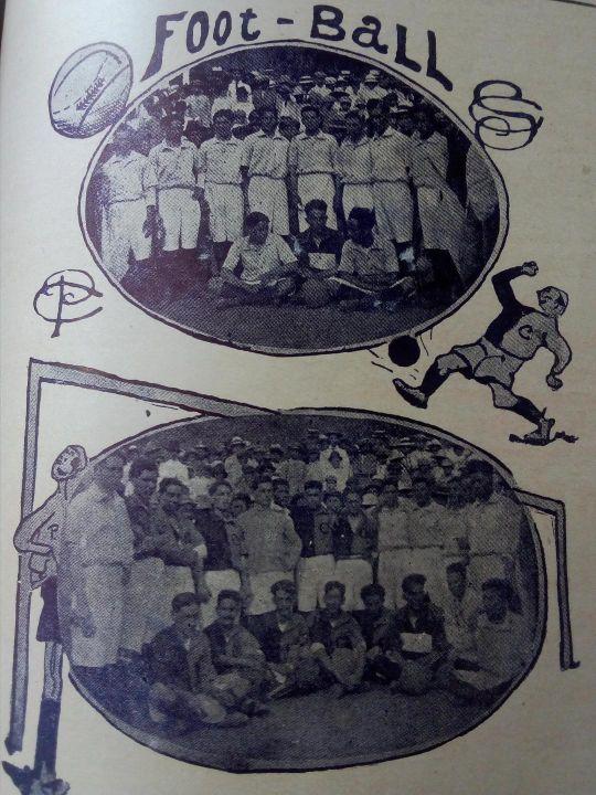 Jugadores del Sporting Club (arriba) y del Club Patria (abajo). Quienes el domingo 27 de abril de 1919 realizaron un partido en La Isla, Tegucigalpa.
