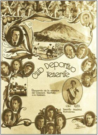 Postal conmemorativa de aquella gira peninsular que el Club Deportivo Tenerife desarrollara en 1933, venciendo al F. C. Barcelona y At Madrid.