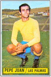 José Juan Suárez Cabrera en un cromo de la temporada 1974-75, cuando se asentaba en 1ª División.