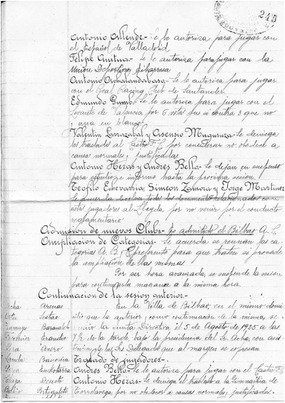 FOTOS: Extracto del Acta de la sesión ordinaria celebrada por la Junta Directiva de la Federación Vizcaína de Fútbol el 4 de agosto de 1925, en la que, entre otros asuntos, se aprueba la admisión en la misma del Bilbao Athletic Club [véase el apartado Admisión de nuevos Clubs (página sellada con el nº 245)].