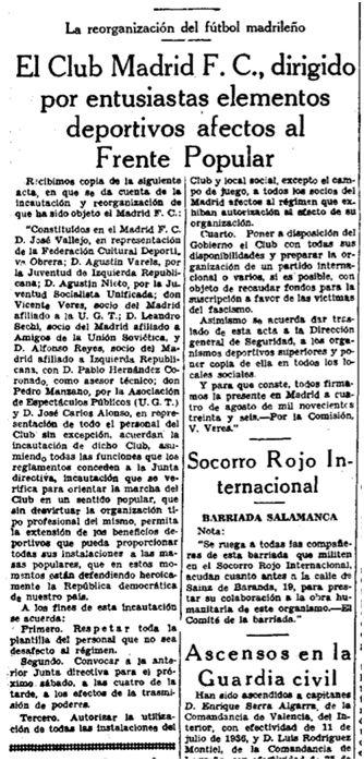 Noticia de la incautación, publicada en el diario El Sol de Madrid, el día 6 de agosto de 1936