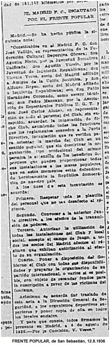 La noticia de la incautación que publicó Frente Popular, donde no aparece Leandro Sechí.