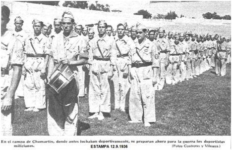 Entrenamiento del Batallón Deportivo en el campo del Madrid F.C., en Chamartín de la Rosa.