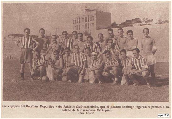 Equipos del Batallón Deportivo y el Athletic Club que jugaron en Chamartín el 27 de septiembre. Entre los jugadores del Batallón figuraron los madridistas Quesada, Sauto, Bonet, Villa y López Herranz. Ganó el Batallón 2.0.