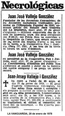 Esquelas de su fallecimiento publicadas en La Vanguardia.