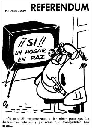 """El humor al servicio del Referéndum. Orbegozo, viñetista de cabecera en """"Marca"""", también puso su granito de arena."""