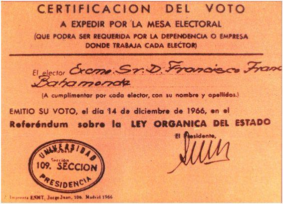 """Franco también votó en """"su"""" Referéndum, como atestigua este certificado. Lo tomaría de recuerdo, pues nadie iba a demandárselo en su dependencia o lugar de trabajo."""