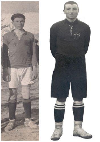 A la izquierda Jesús Pagán con apenas 18 años cuando defendía la camiseta verde manzana del Levante de Murcia. A la derecha, tres años más tarde, con la camiseta roja del ya denominado Real Murcia (FOTOS ARCHIVO PEDRO GARCÍA)