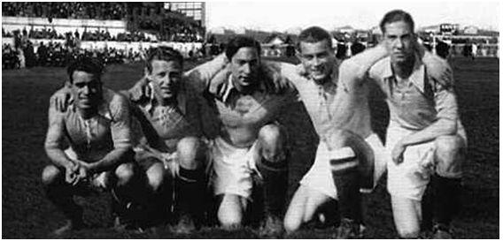 La delantera eléctrica: Casuco, Gallart, Lángara, Herrerita, Emilín.