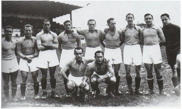 Formación 1935-36. Arriba: Casuco, Gallart, Chus Alonso, Felipe, Soladrero, Sirio, Emilín, Caliche, Florenza. Agachados: Pena, Lángara.