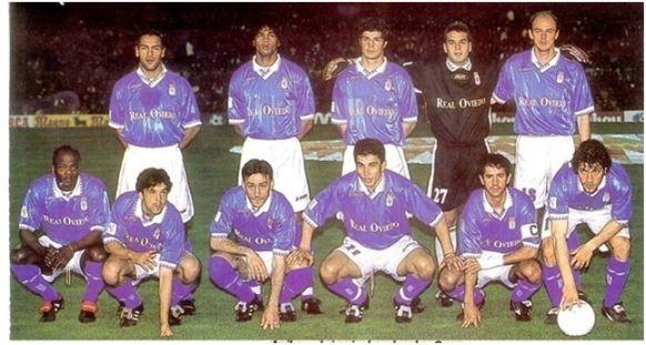 Formación 1997-98 . Arriba: Gamboa, Abel Xavier, César, Esteban, Onopko.  Agachados: Dely Valdés, Iván Iglesias, Paulo Bento, Juan González, Berto, Pompei.