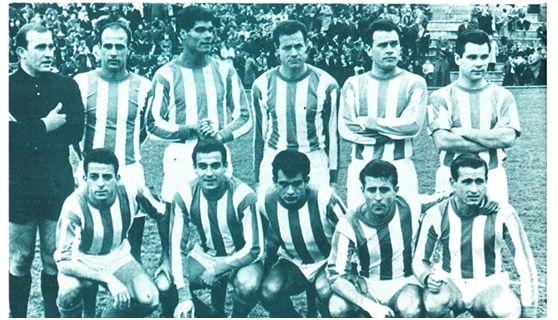 Formación 1962-63. Arriba: Benegas, Simonet, Mingorance, Navarro, Egea,  Ricardo Costa. Agachados: Juanito Vázquez, Martínez, Miralles, Paz, Homar.