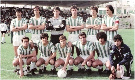 Formación 1982-83: Arriba: Monzón, Juanjo, Borja, Lucas S., Luis Martínez, Campos. Agachados: Vinuesa, Chiqui, López Colodrero, Pérez, Peque.