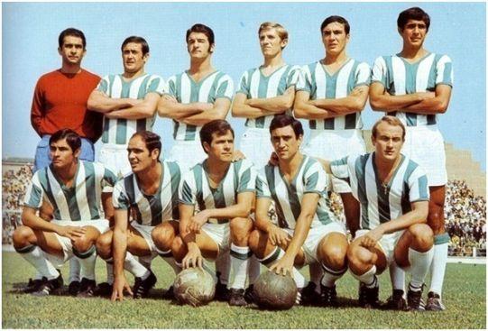 Formación 1969-70. Arriba: Molina, Ponce, Toledo, Verdugo, Jaén, Varo.  Agachados: Rojas, Juanín, Jara, Diego, Luis Costa.