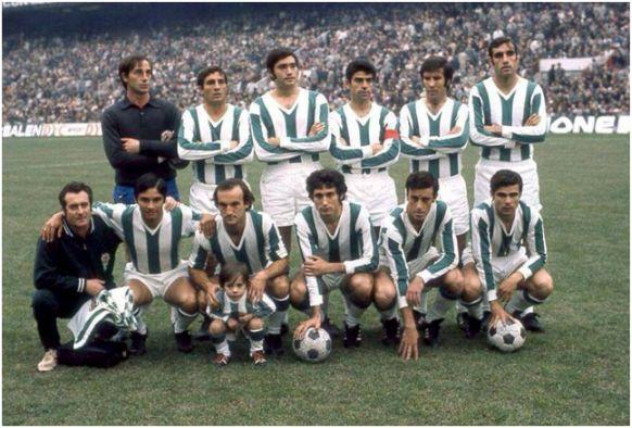 Formación 1971-72. Arriba: Campos, López M., Torres, Sanchís, Rodri, Tejada. Agachados: Rojas, Fermín, Causanilles, Del Bosque, Cuesta M.