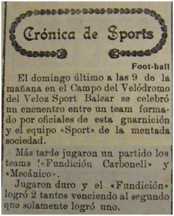 [Imagen 1] Crónica del partido entre Mecánico y Fundición Carbonell (La Almudaina, 27 de abril de 1920)