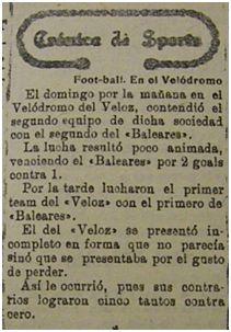 [Imagen 3] Primer partido del Baleares Football Club (La Almudaina, 23 de noviembre de 1920)