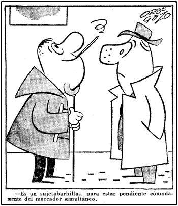 """Lógicamente, en 1955 nadie podía aventurar la utilidad de un """"palo-selfie"""". Pero el humorista Orbegozo diseño algo semejante para espectadores adictos al marcador simultáneo."""