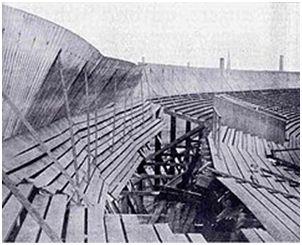 Estado en el que quedó la tribuna del Ibrox Park tras el colapso.