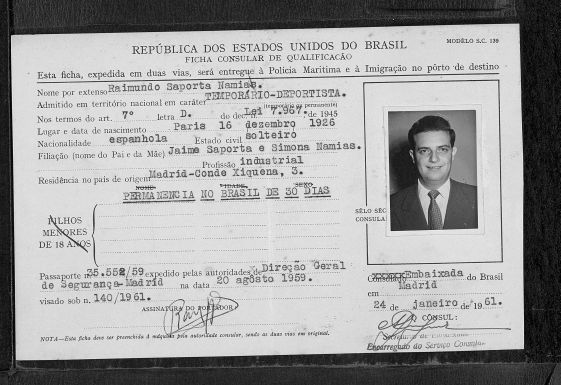 Visado de entrada en Brasil (1961) con los datos oficiales españoles de Raimundo Saporta. (1)