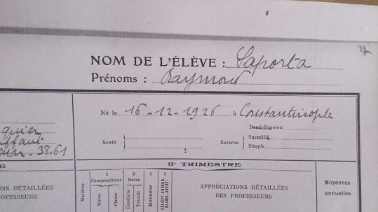 Expediente del alumno Raymond Saporta, Lycée Carnot. Curso 1938-1939 (5)
