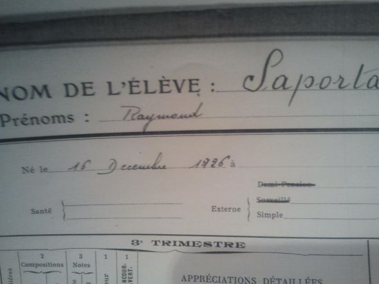 Expediente del alumno Raymond Saporta, Lycée Carnot. Curso 1940-1941 (5)